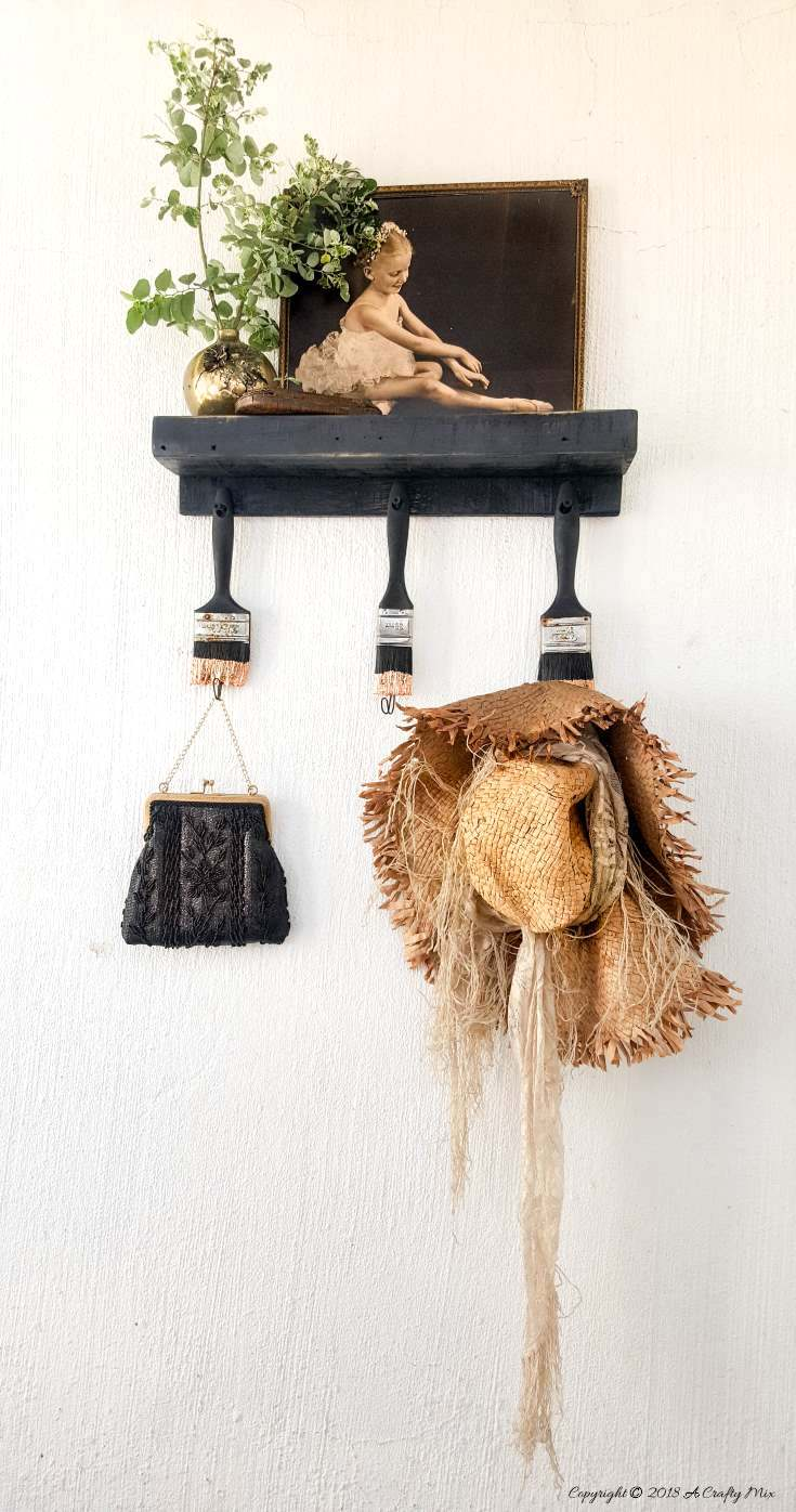 Paint brush shelf by A Crafty Mix, featured on Funky Junk Interiors