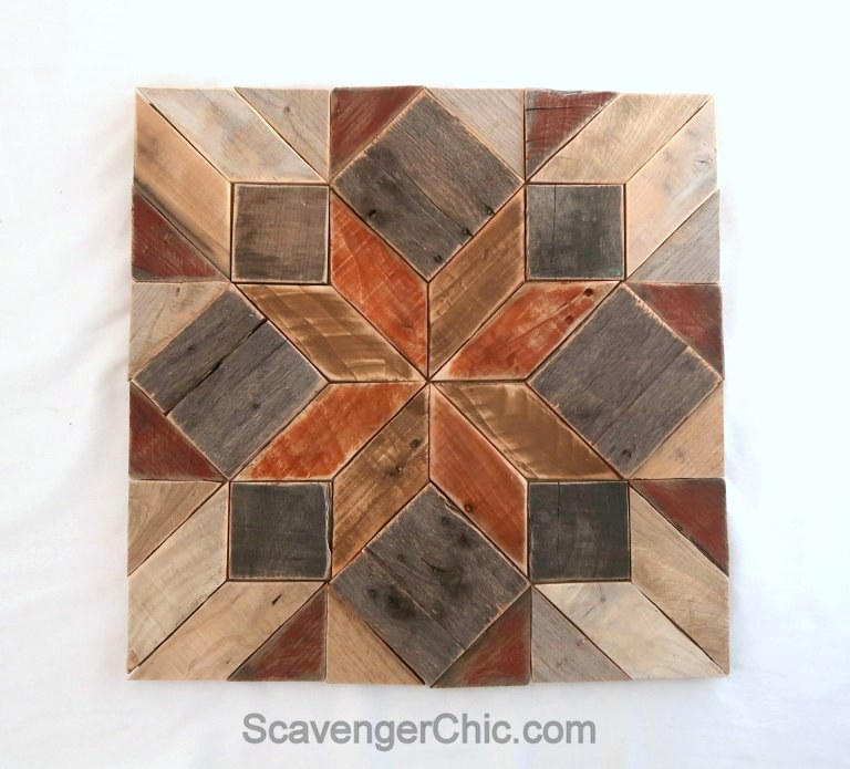 Pallet wood quilt square by Scavenger Chic, featured on Funky Junk Interiors