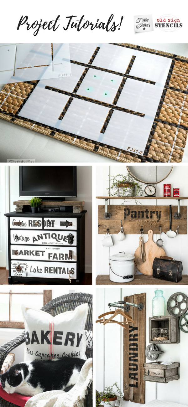 Project tutorials working with Funky Junk's Old Sign Stencils: Click HERE for all!