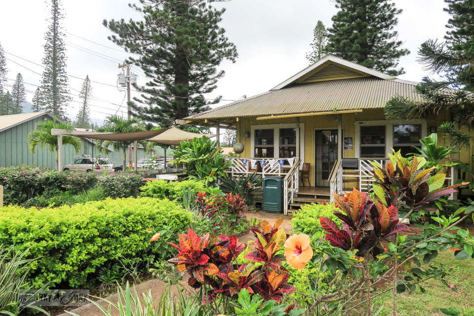 Plantation styled stores in Lana'i City in Hawaii