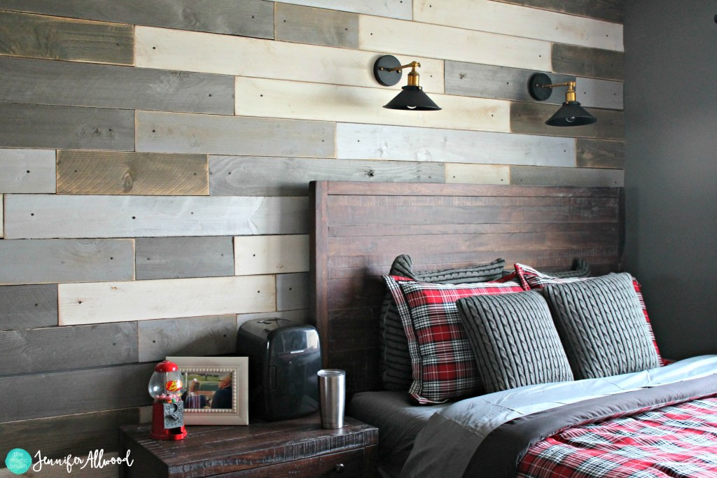 Wood plank wall by The Magic Brush by Jennifer Allwood, featured on Funky Junk Interiors