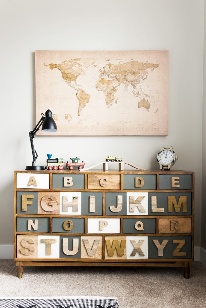 Alphabet boy's bedroom dresser by Cherished Bliss, featured on Funky Junk Interiors