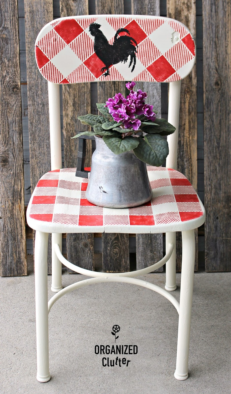 Buffalo checked farmhouse kitchen chair by Organized Clutter, featured on Funky Junk Interiors