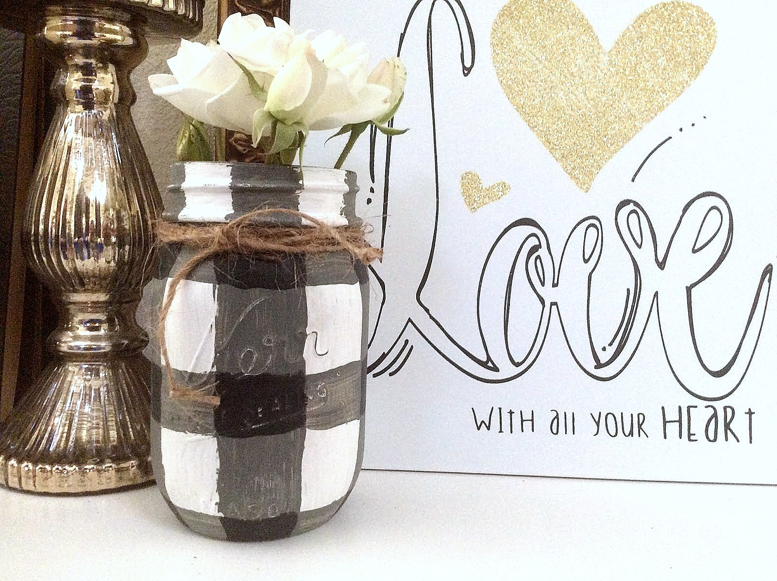 Hand painted buffalo checked mason jars by Fresh Vintage By Lisas, featured on Funky Junk Interiors