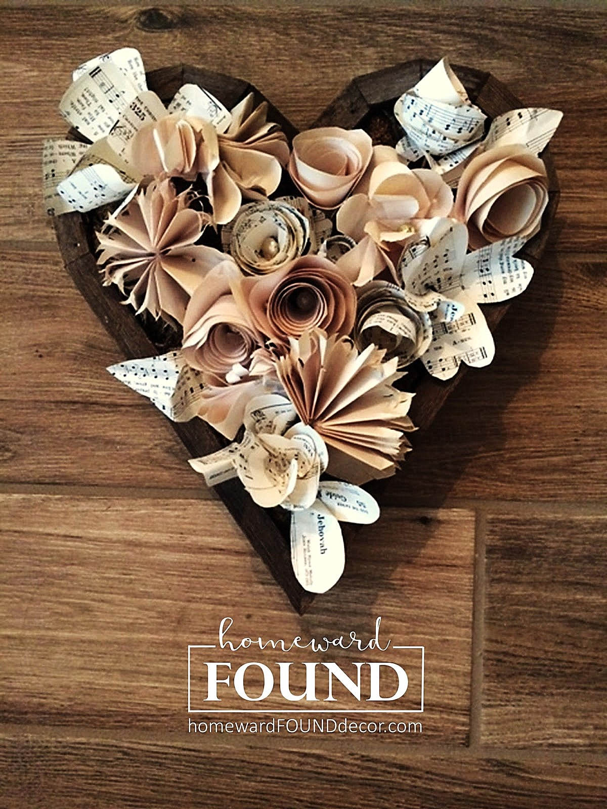 Paper floral heart by Homeward Found, featured on Funky Junk Interiors