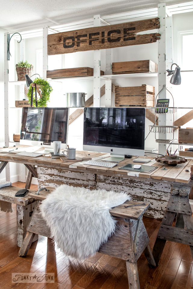Pallet Wood Office Desk With Large Sign And Rustic Benches