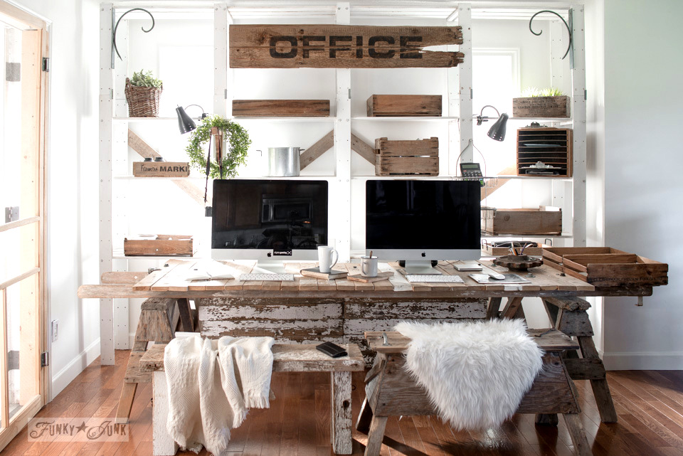 A rustic blogging office with sawhorse legs, ladder and pallet top and rustic benches for chairs.