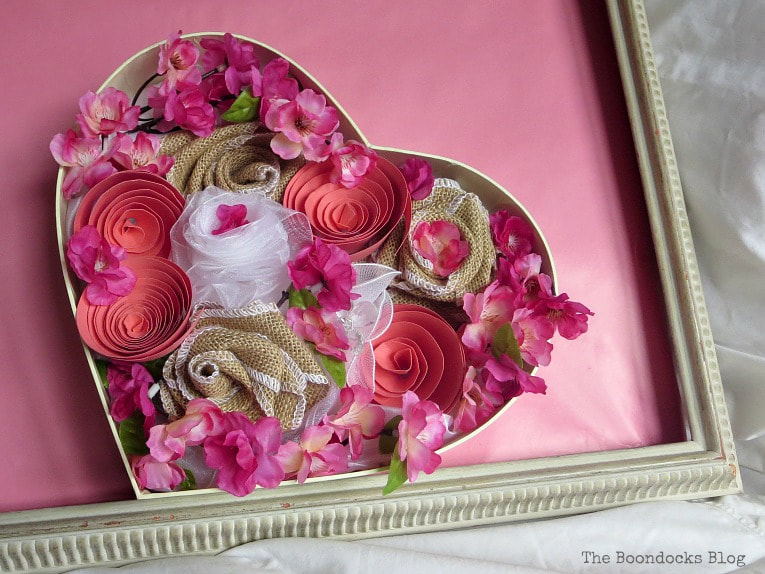 Heart shaped Valentine's Day crafting by The Boondocks Blog, featured on Funky Junk Interiors