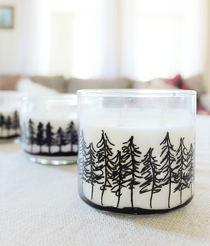 Pine tree drawn candle votives by Stow and Tell U, featured on Funky Junk Interiors