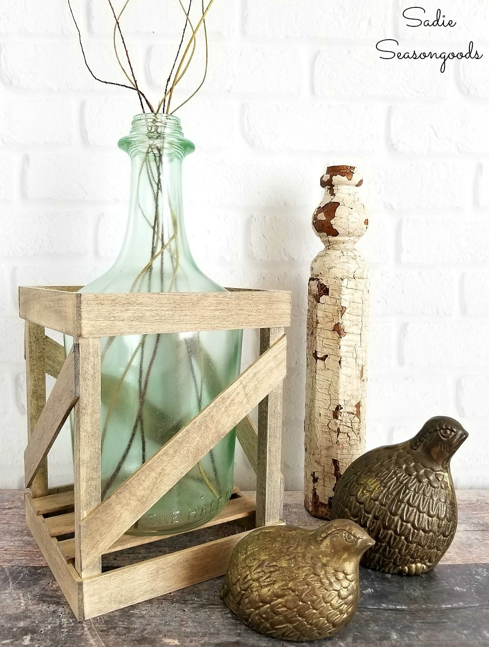DIY demijohn wine bottle vase by Sadie Seasongoods, featured on Funky Junk Interiors