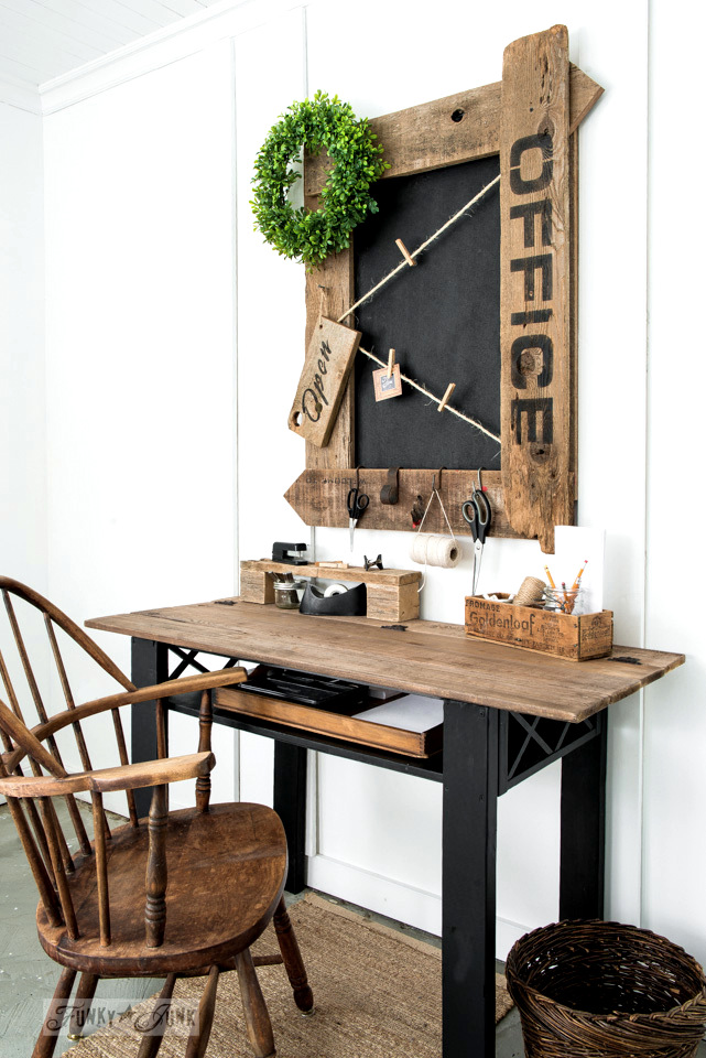 Learn how to make this reclaimed wood farmhouse Office sign chalkboard with twine. All you need is scrap wood, Fusion Mineral Paint and Funky Junk's Old Sign Stencils OFFICE. #funkyjunkinteriors #oldsignstencils #fusionmineralpaint #office #chalkboard #bulletinboard #diy #reclaimedwood