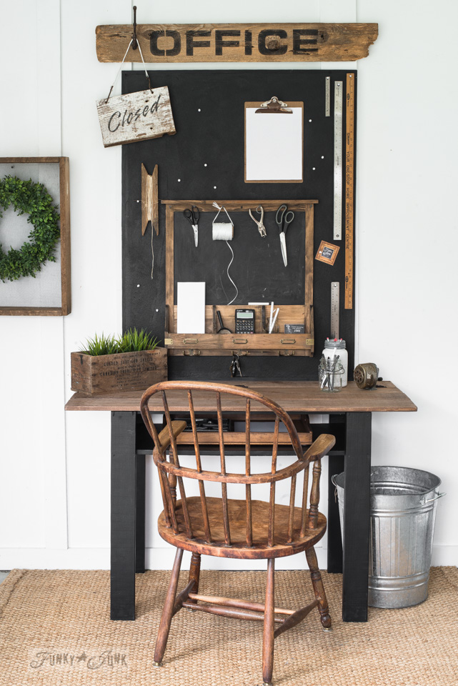 A rustic farmhouse-styled repurposed coffee table flip-up desk with Office stencilled sign. With Funky Junk's Old Sign Stencils and Fusion Mineral Paint. #oldsignstencils #funkyjunkinteriors #fusionmineralpaint #farmhouse #farmhousestyle #rustic #furniture #homedecor #office #desk