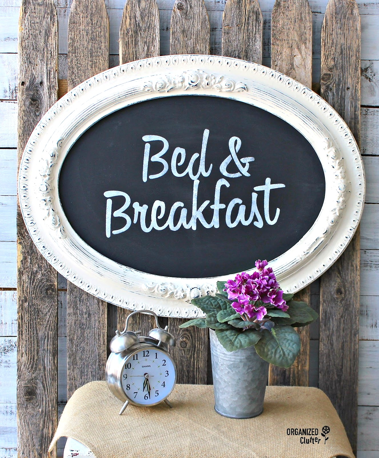 Faux chalkboard Bed & Breakfast sign by Organized Clutter, featured on Funky Junk Interiors