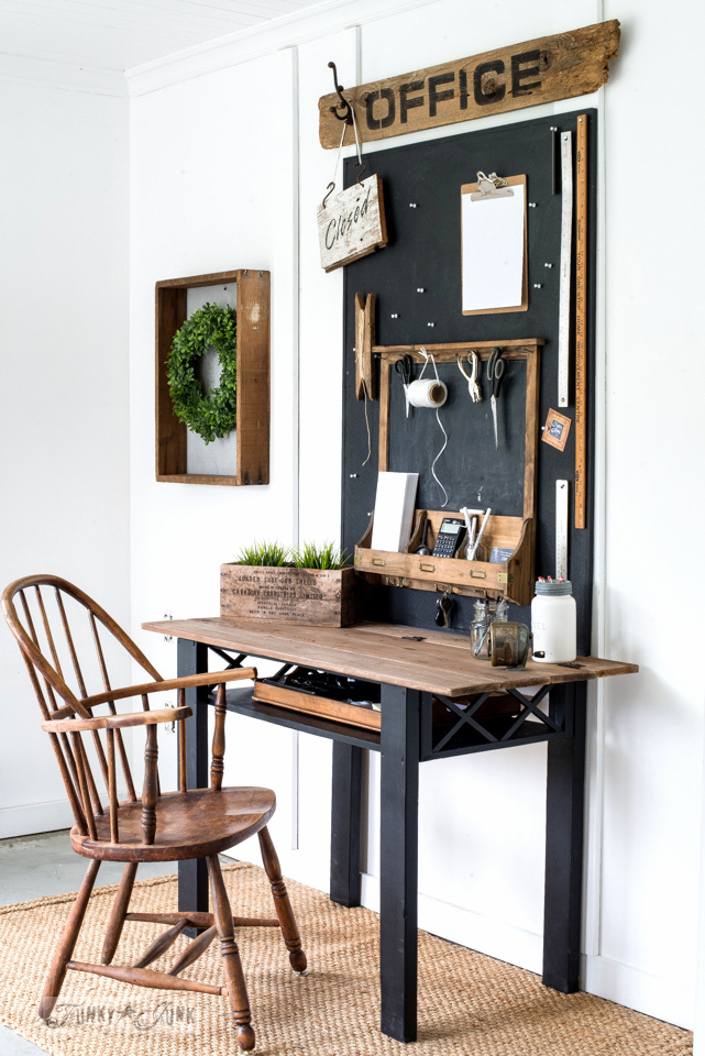 Learn how to make this flip desk out of a coffee table, complete with Office sign and chalkboard using reclaimed wood, Funky Junk's Old Sign Stencils and Fusion Mineral Paint. #funkyjunkinteriors #oldsignstencils #fusionmineralpaint #reclaimedwood #office #chalkboard #desk #furniture #diy #farmhouse