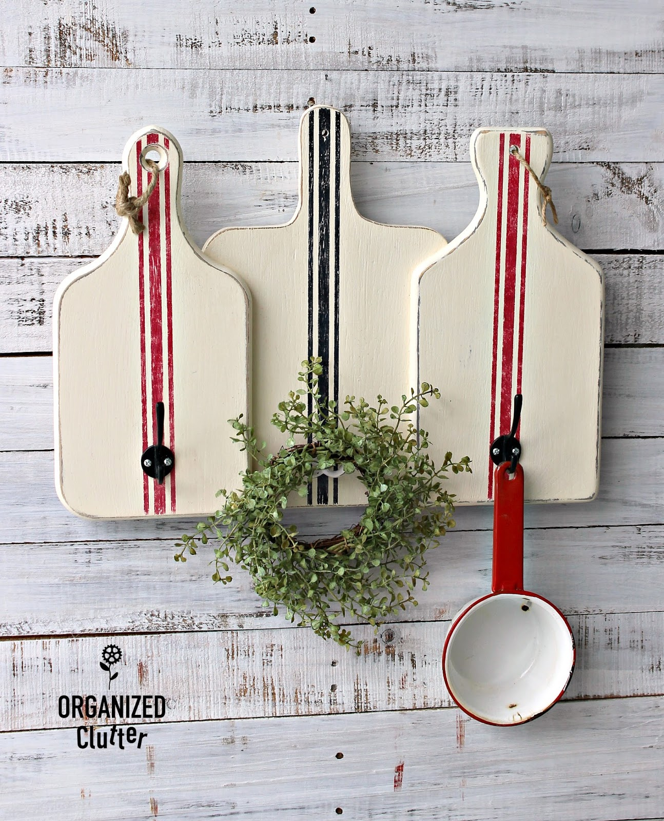 Farmhouse vintage grain sack cutting board kitchen hooks by Organized Clutter, featured on Funky Junk Interiors