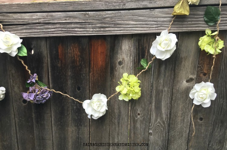 Faux spring or summer flower garland by Salvage Sister and Mister, featured on Funky Junk Interiors