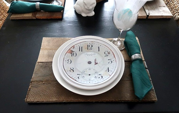 Pottery Barn knockoff DIY clock plates by Scavenger Chic, featured on Funky Junk Interiors