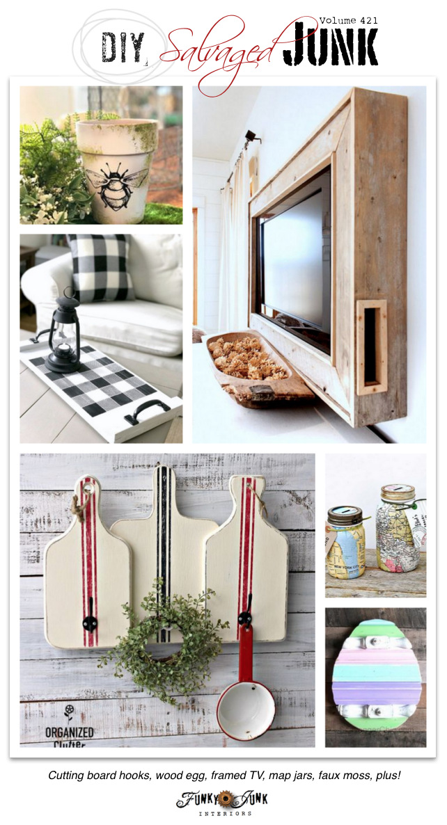 DIY Salvaged Junk Projects 421 - Cutting board hooks, wood egg, framed TV, map jars, faux moss, plus! Upcycled features and NEW repurposed projects on Funky Junk Interiors