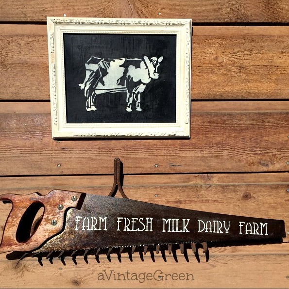 Framed and vintage saw farmhouse signs by A Vintage Green, featured on Funky Junk Interiors