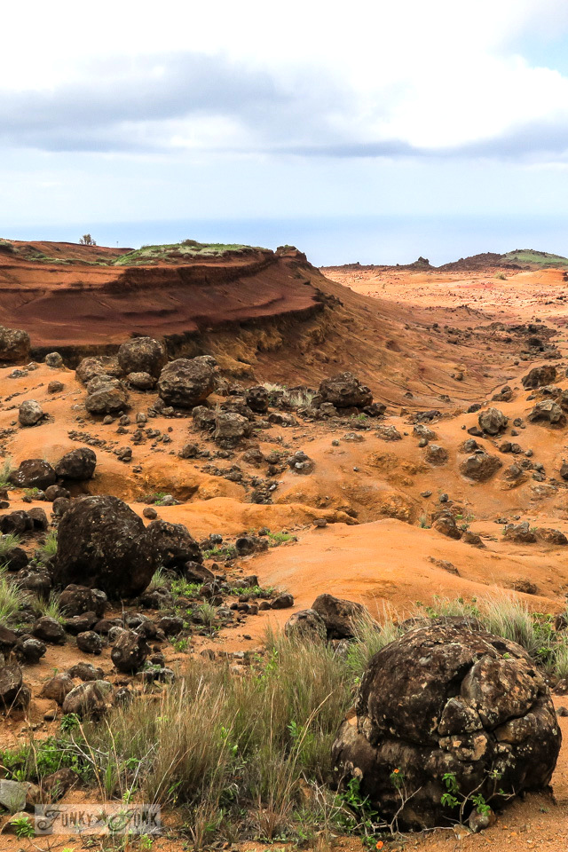 Touring through Garden of the Gods, a beautiful lunar landscape on the island of Lanai, Hawaii
