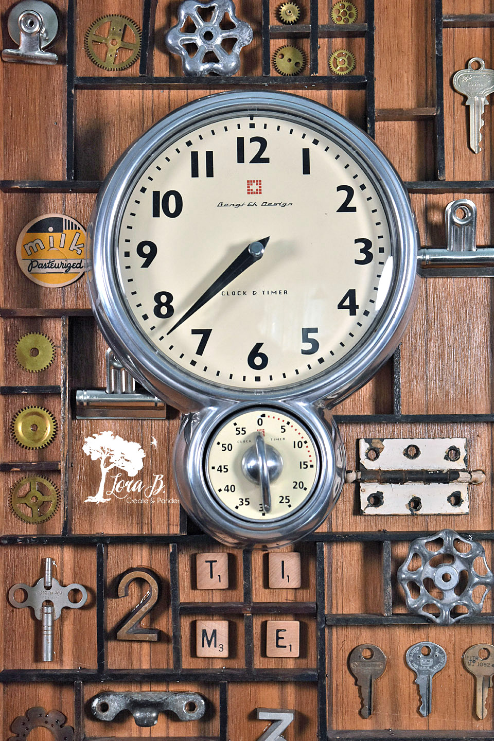 Printer's Box Clock backdrop by Lora B, featured on Funky Junk Interiors