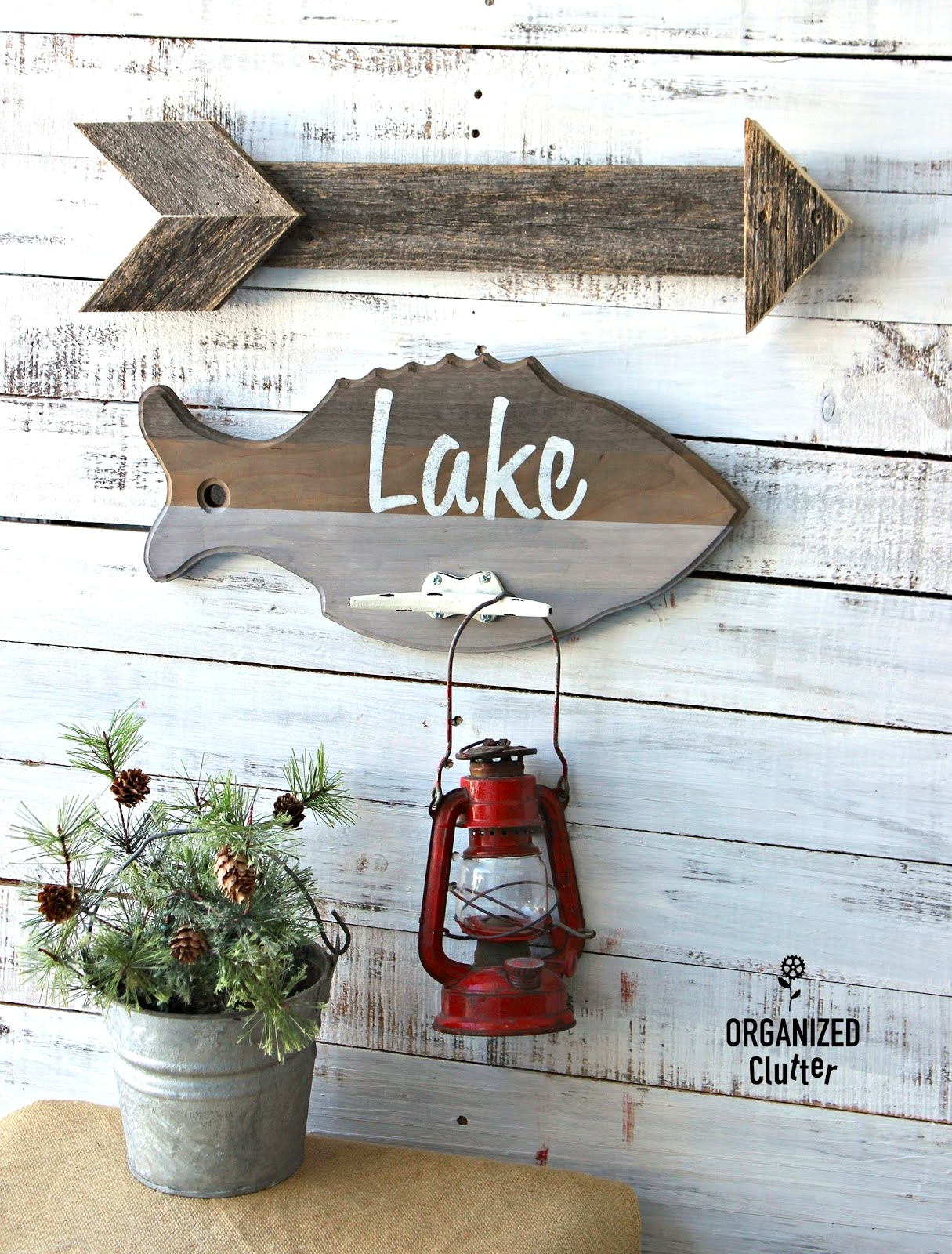 Repurposed fish cutting board Lake sign by Organized Clutter, featured on Funky Junk Interiors
