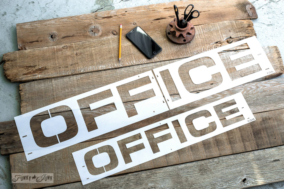 This OFFICE stencil comes in two sizes. Made by Funky Junk's Old Sign Stencils. Click to shop and see the large office sign made on Funky Junk Interiors. #funkyjunkinteriors #oldsignstencils #office #sign #signs #farmhouse #farmhousestyle