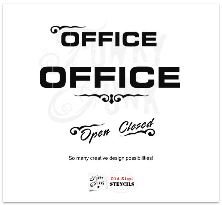 Open Closed Flourish Office Mix & Match Variations | Funky Junk's Old Sign Stencils
