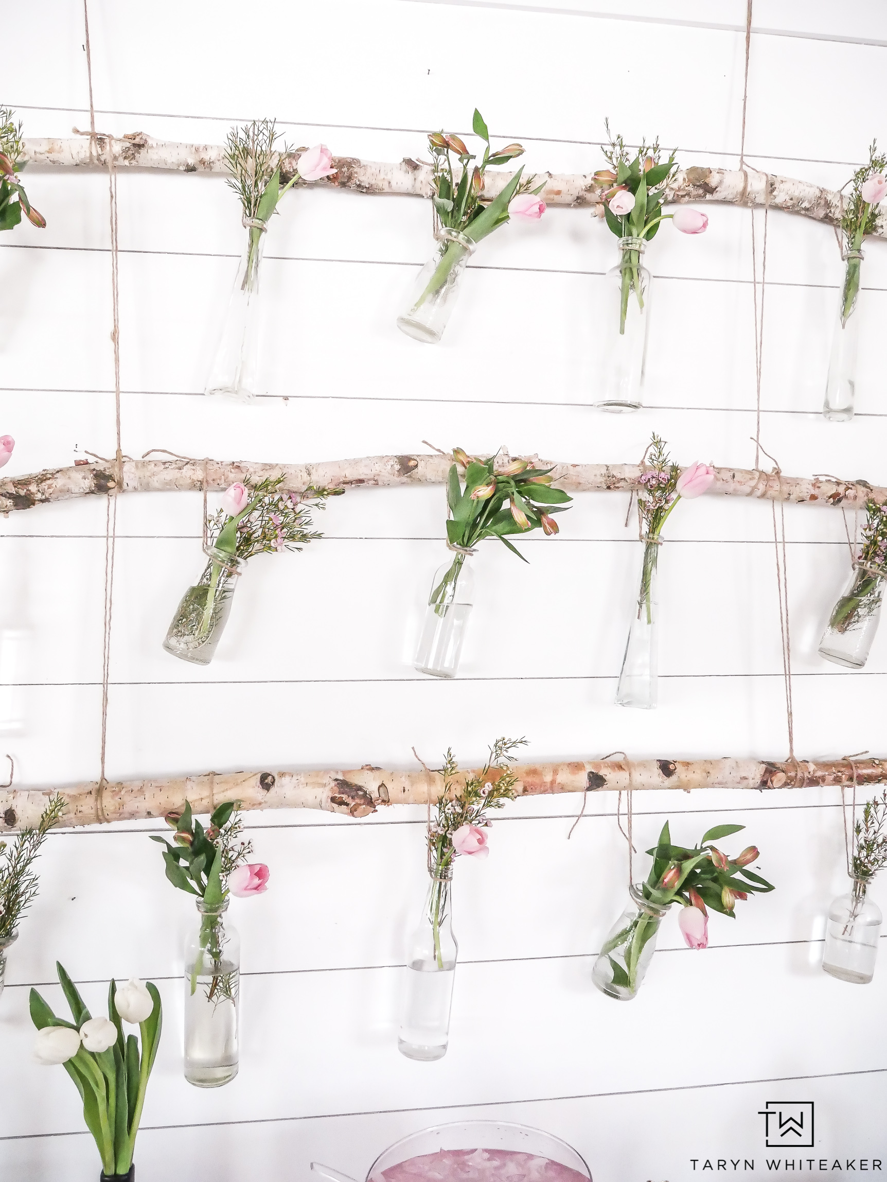 Branch floral hanger wall art by Taryn Whiteaker, featured on Funky Junk Interiors