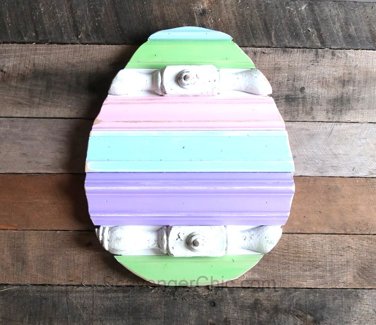 Scrap wood spring easter egg by Scavenger Chic, featured on Funky Junk Interiors
