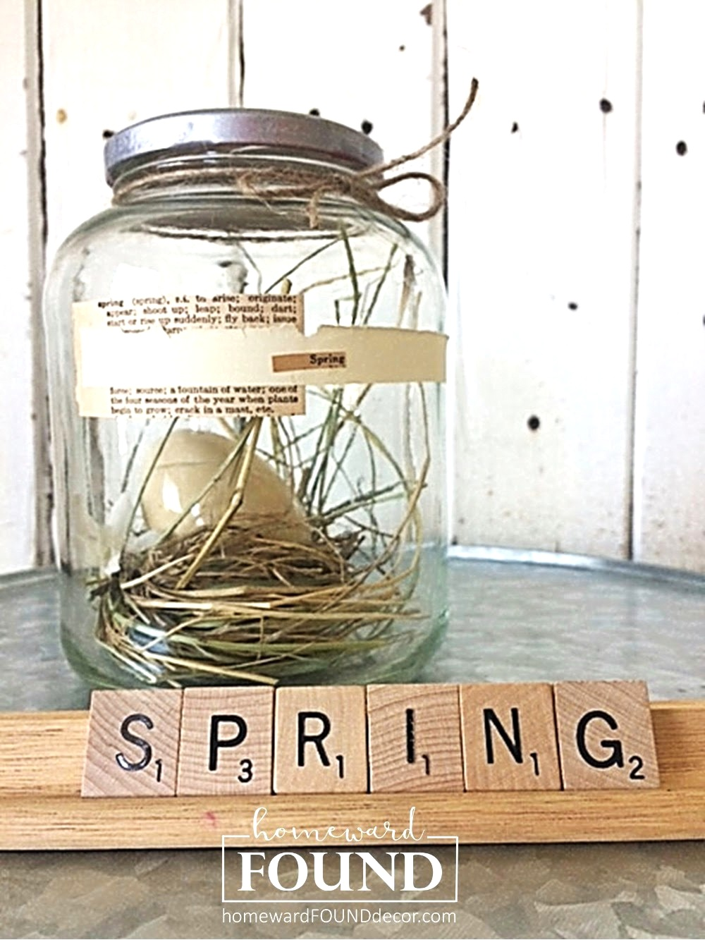 Spring scrabble sign with globe jar nest by Homeward Found, featured on Funky Junk Interiors