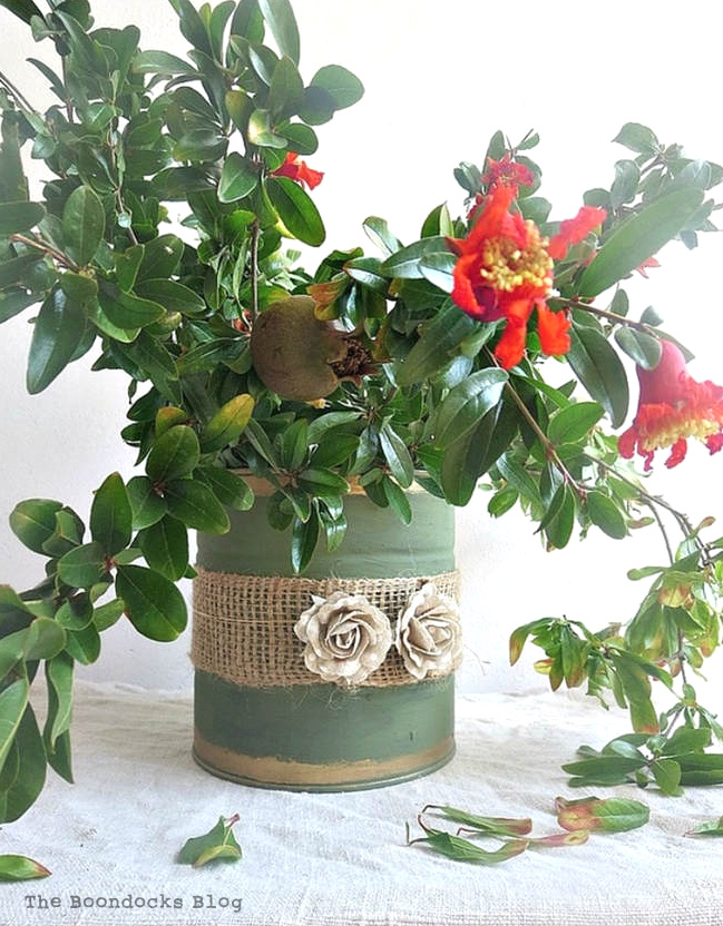 Tin can planters by The Boondocks Blog, featured on Funky Junk Interiors