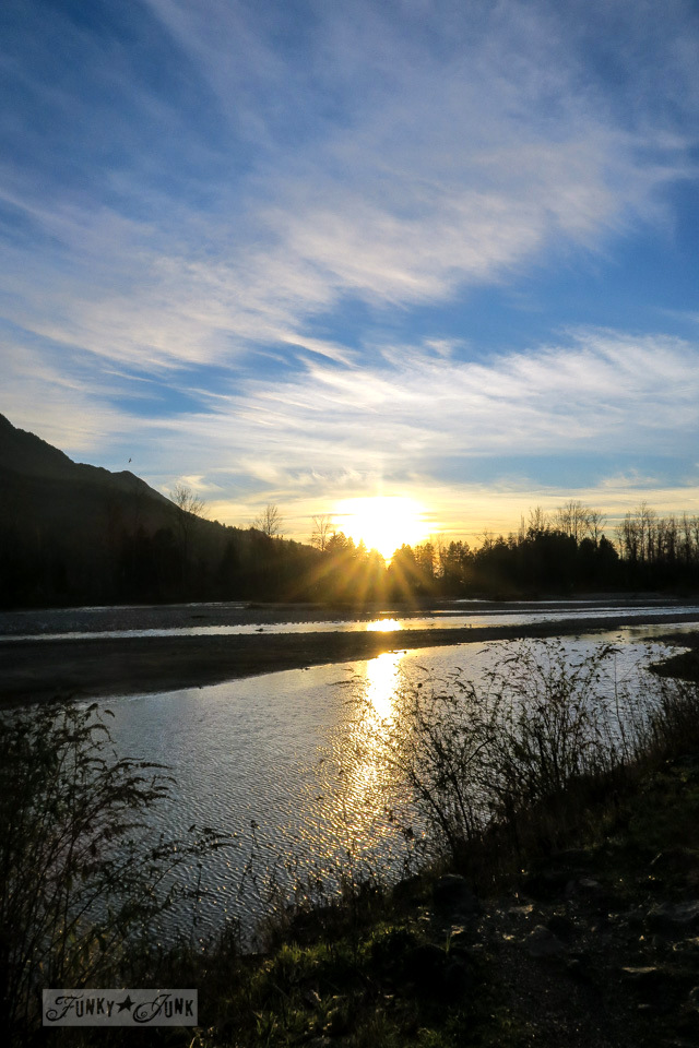 A golden sunset along the Vedder River Rotary Trails in Chilliwack, BC