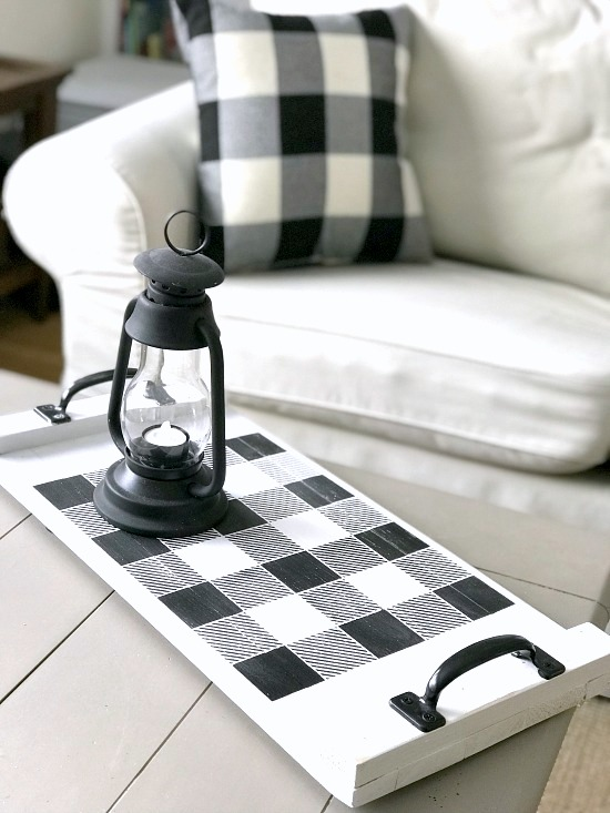 Stenciled black and white buffalo check wood tray by Homeroad, featured on Funky Junk Interiors