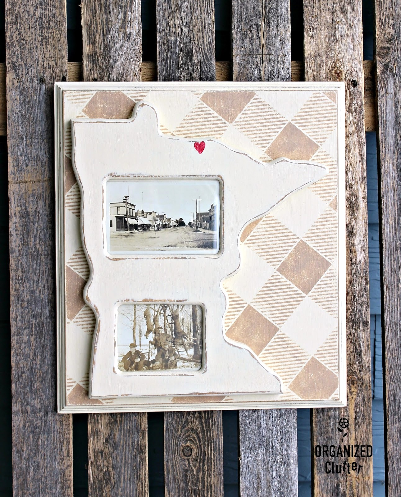 Buffalo Check map picture frame by Organized Clutter, featured on Funky Junk Interiors