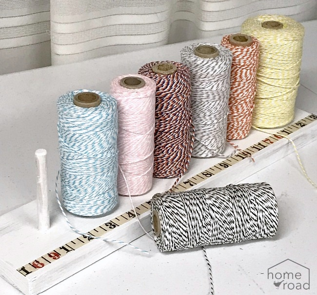 Baker's twine measuring device spool holder by Homeroad, featured on Funky Junk Interiors