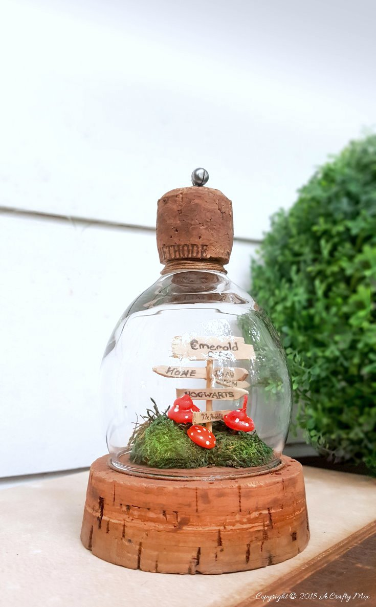 Wine glass fairy garden cloche by A Crafty Mix, featured on Funky Junk Interiors