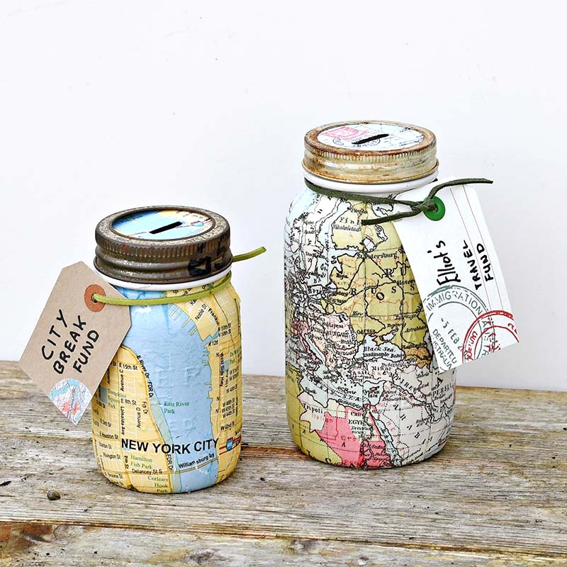 Printed map mason jar travel banks by Pillar Box Blue, featured on Funky Junk Interiors