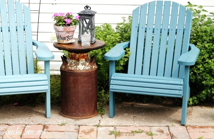 Farmhouse milk can patio side table by Knick of Time, featured on Funky Junk Interiors
