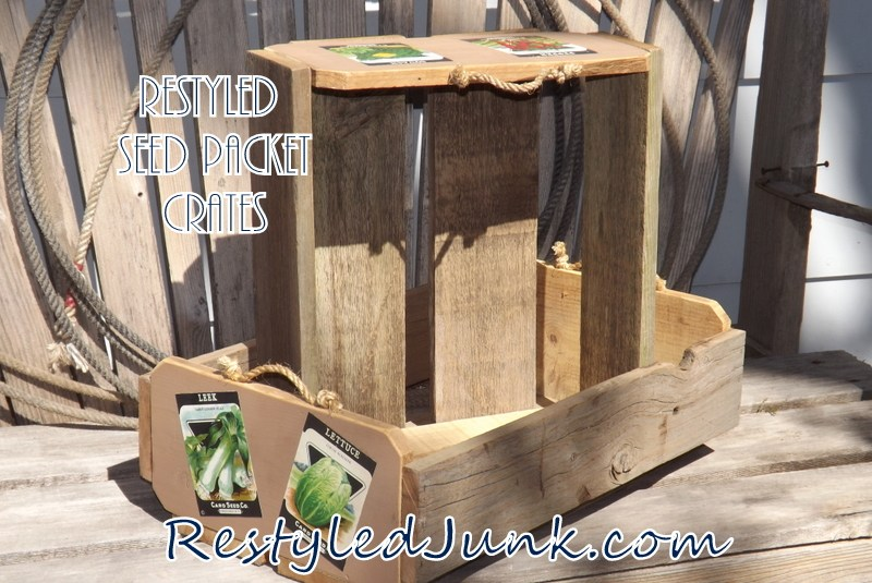 Restyled seed packet crate trays by Restyled Junk, featured on Funky Junk Interiors