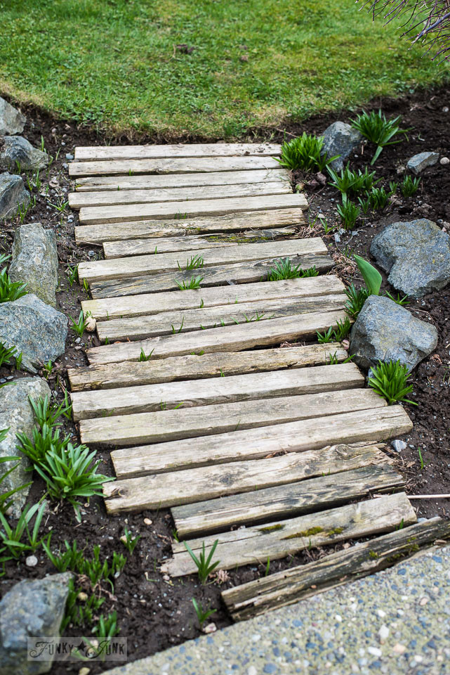 reclaimed wood walkway needing replacing in a spring flowerbed