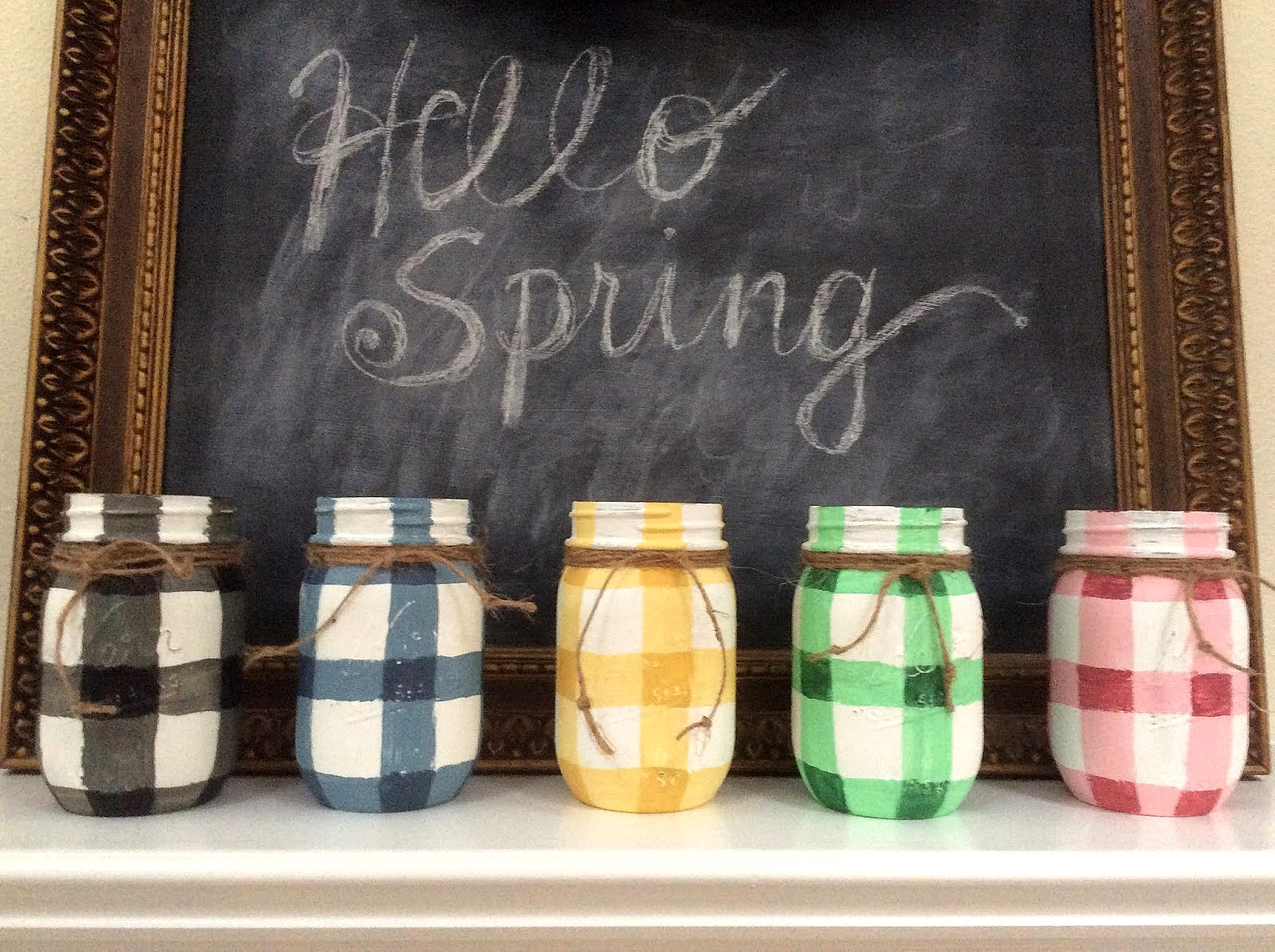Pastel spring buffalo checked mason jars by Fresh Vintage By Lisas, featured on Funky Junk Interiors