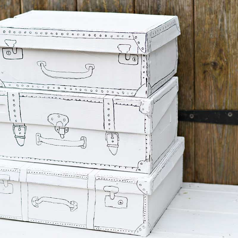 Vintage suitcase drawn shoeboxes by Pillar Box Blue, featured on Funky Junk Interiors