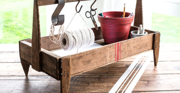 Grain sack lines on rustic toolbox | Funky Junk's Old Sign Stencils