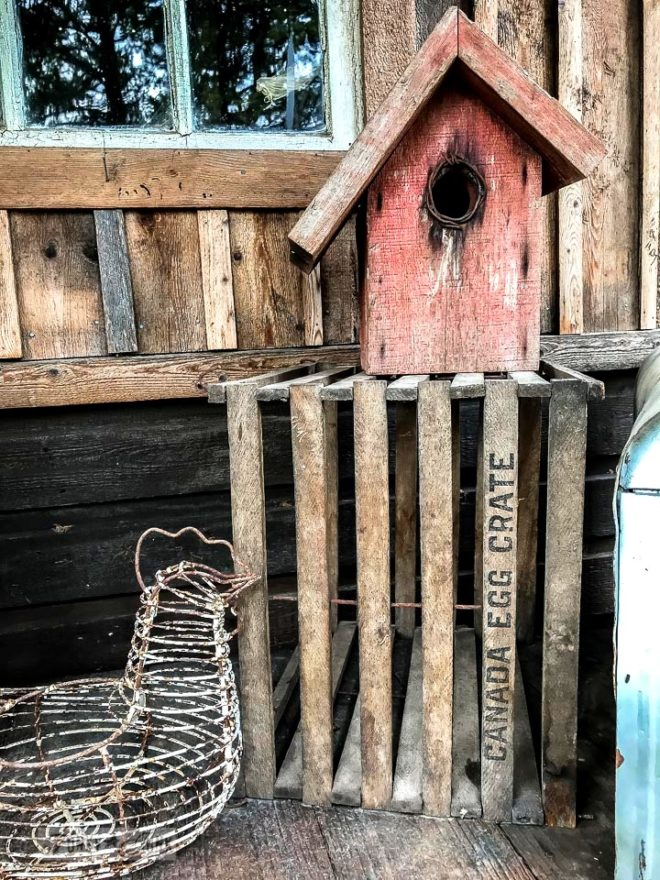 Canada eggs crate, birdhouse and chicken egg basket at The Back Porch at Harrison Hot Springs, BC