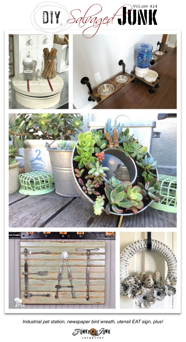 DIY Salvaged Junk Projects 424 - Industrial pet station, newspaper bird wreath, utensil EAT sign, plus! Features and NEW junk projects!