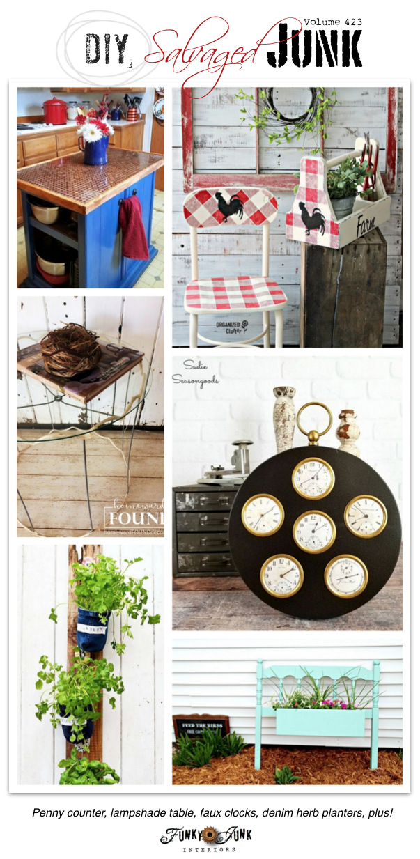DIY Salvaged Junk Projects 423 - Penny counter, lampshade table, faux clocks, denim herb planters, plus! Features with NEW junk projects on Funky Junk Interiors