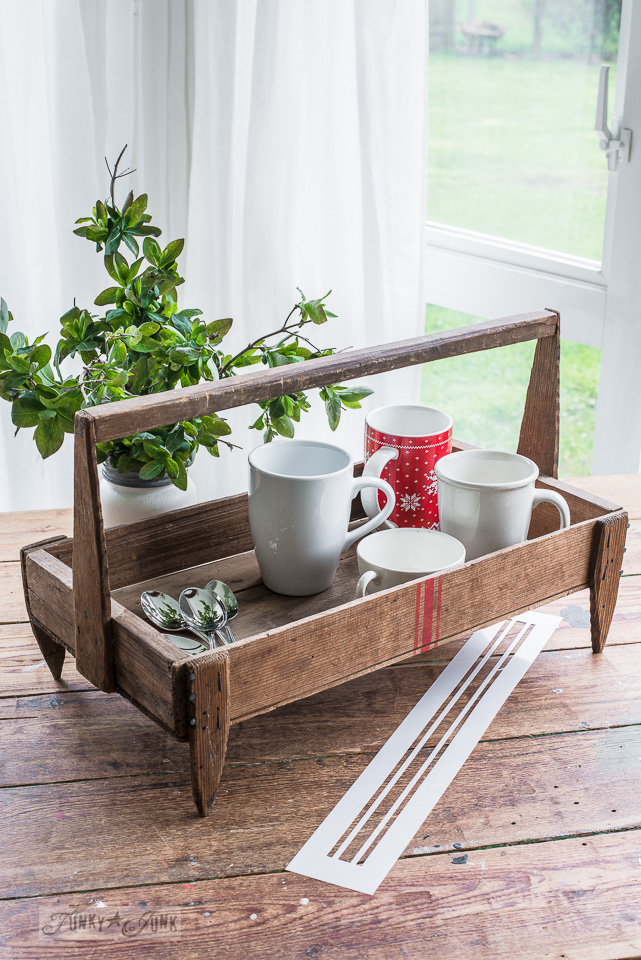 A vintage coffee tray server, perfect for outdoor living in the summer! Part of Grain sack striped farmhouse tote used 3 ways with Funky Junk's Old Sign Stencils #funkyjunkinteriors #oldsignstencils #grainsackstripes #vintage #toolbox #caddy #tote #fusionmineralpaint