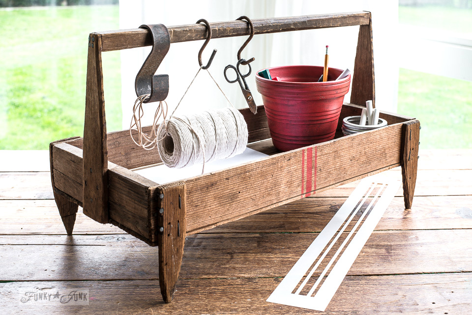grain sack striped antique berry crate turned office organizer, part of Building life beyond builder-grade beige - an inspiring read on how to enhance your own life