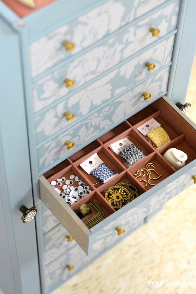 Jewelry box craft organizer by Thrift Diving, featured on Funky Junk Interiors